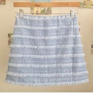 RARE J. Crew Mini Skirt in Fringy Lace Baby Blue
